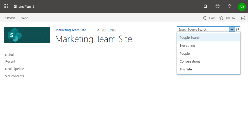 sharepoint online search navigation
