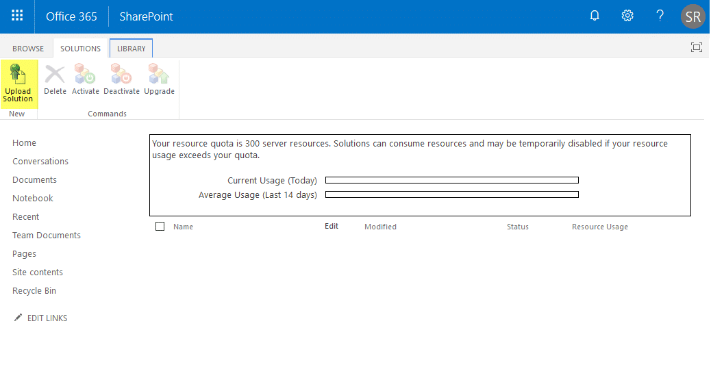 upload solution package in sharepoint online