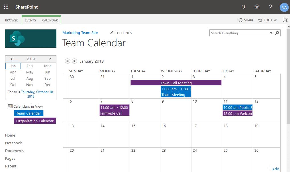 add calendar overlay sharepoint online