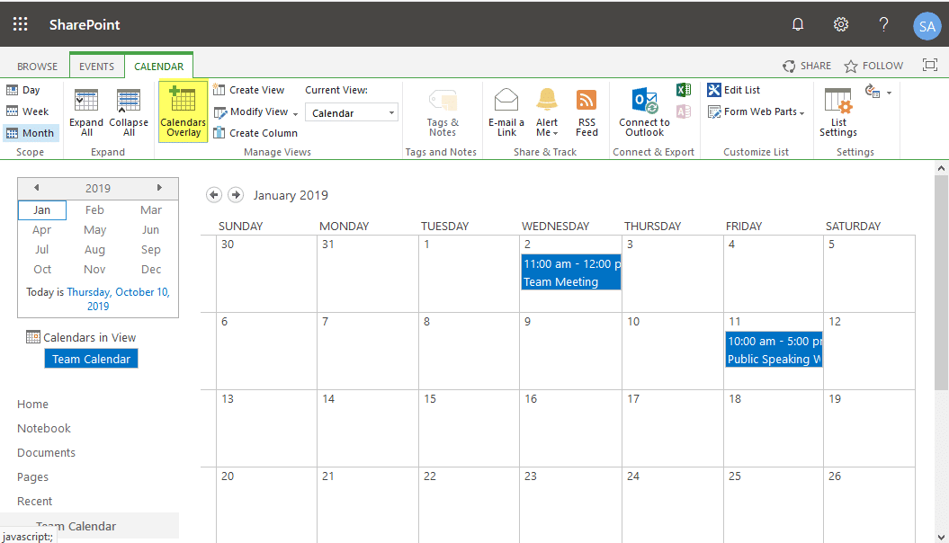calendar overlay in sharepoint online