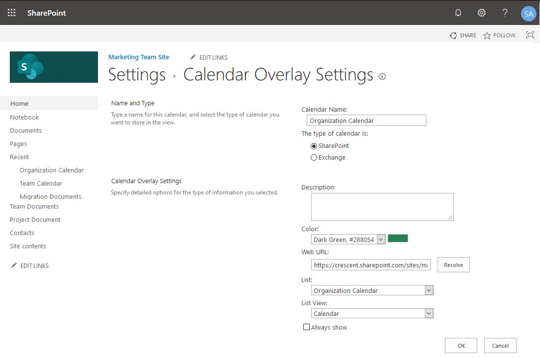 sharepoint online calendar overlay
