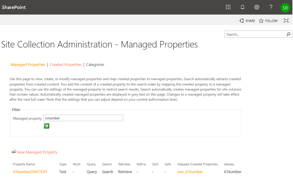 sharepoint online search get managed property