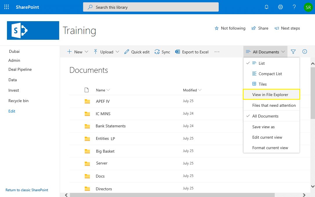 sharepoint online view in file explorer