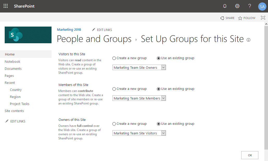 set subsite permissions sharepoint online