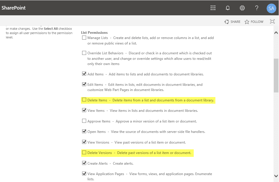 sharepoint list permissions add but not delete