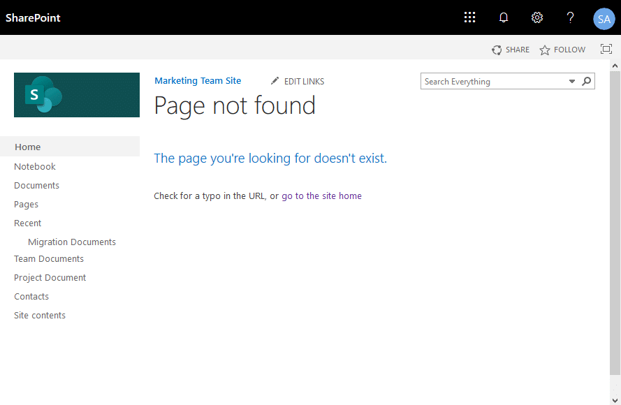sharepoint online custom page not found