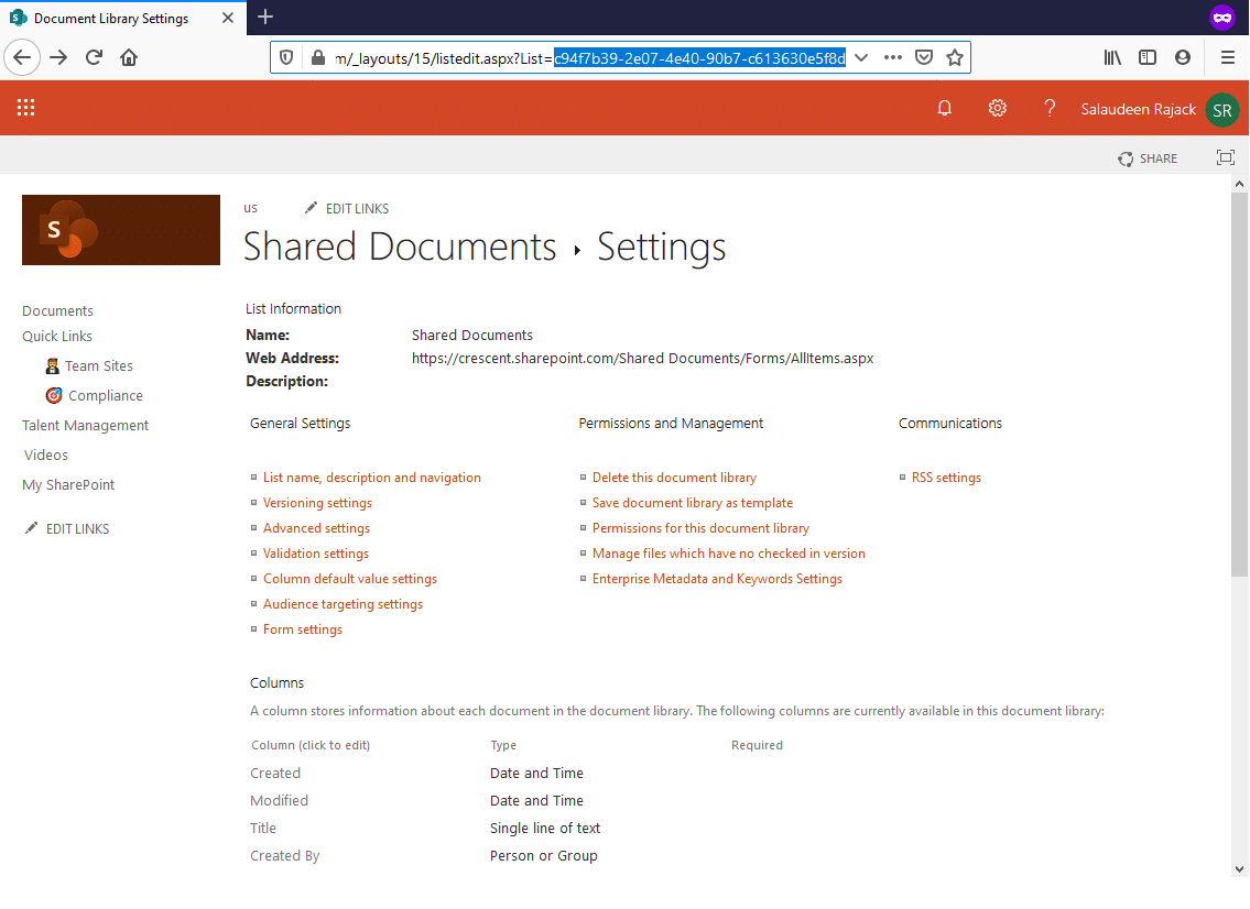 sharepoint online get list from guid