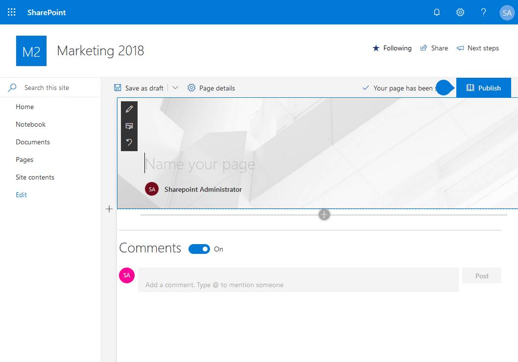 sharepoint online modern page remove banner