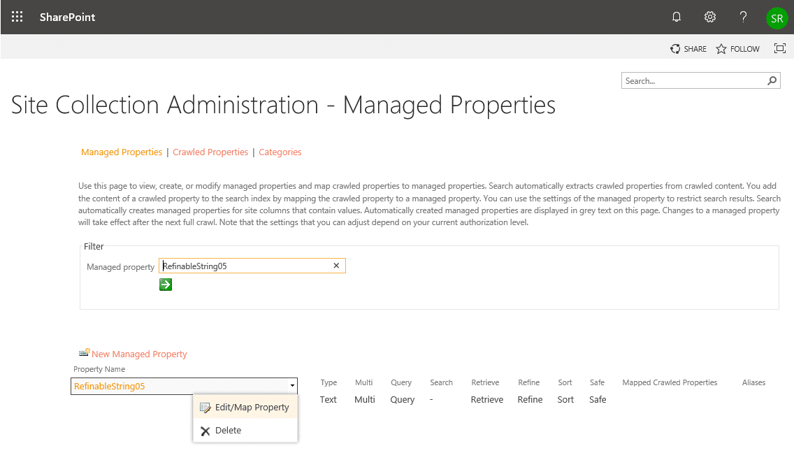 sharepoint online search refinement panel