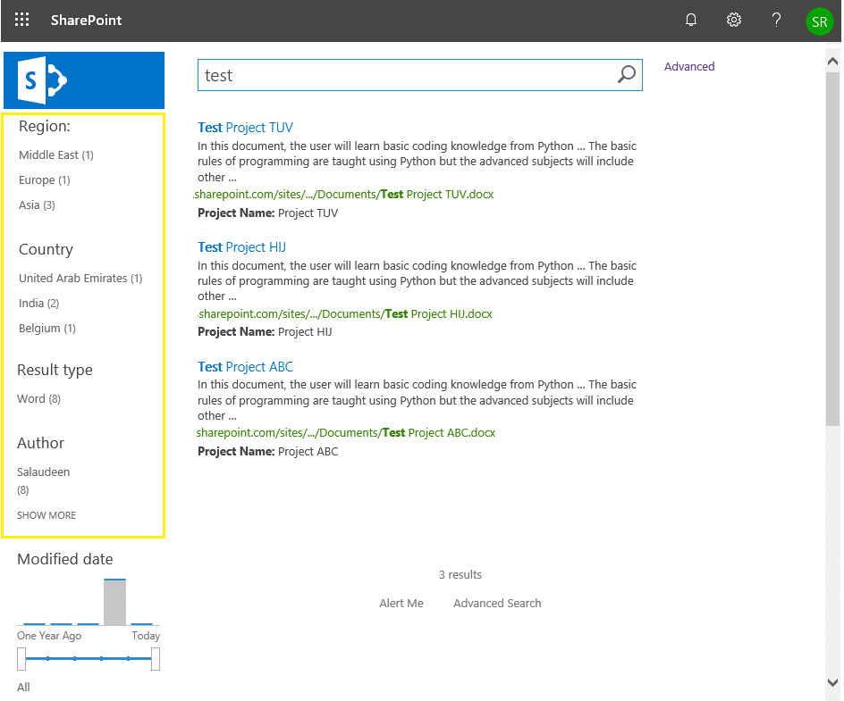 sharepoint online search refiners show count