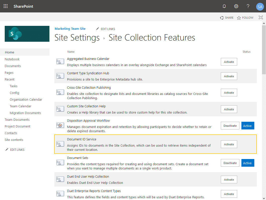 activate document id feature sharepoint online