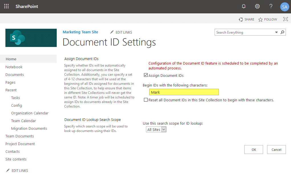 document id service feature sharepoint online