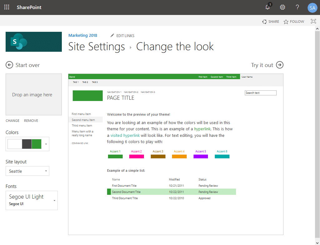 sharepoint online apply theme to subsites