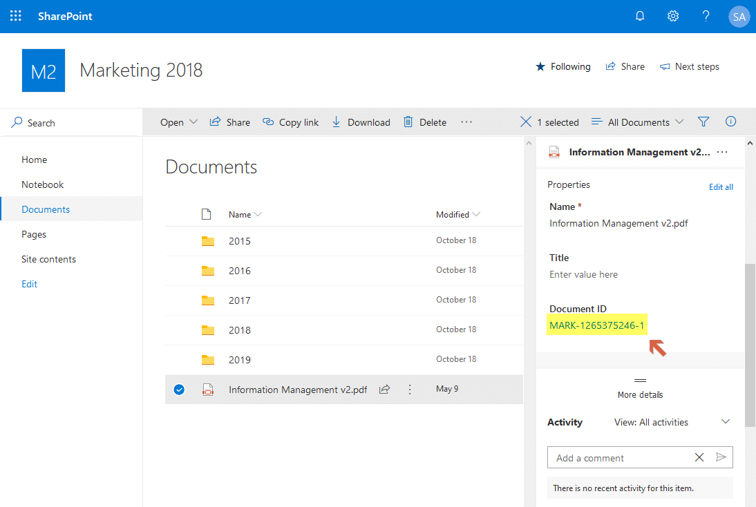 sharepoint online turn on document id