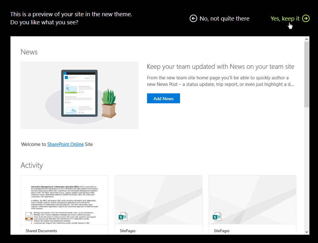 sharepoint theme apply all sites