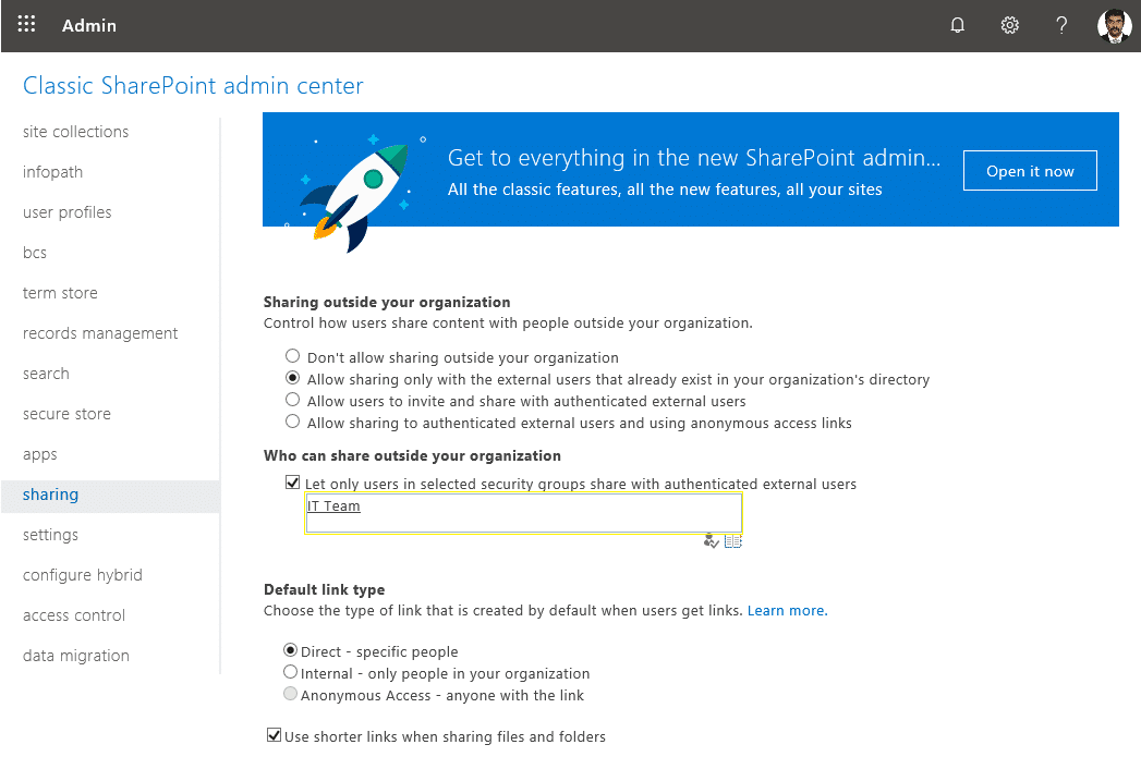 enable external sharing to security group