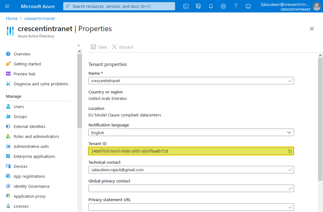 get tenant id in office 365