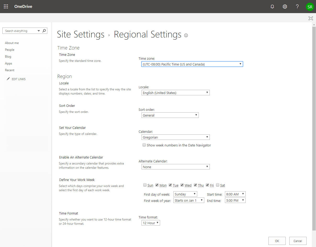 onedrive for business change time zone