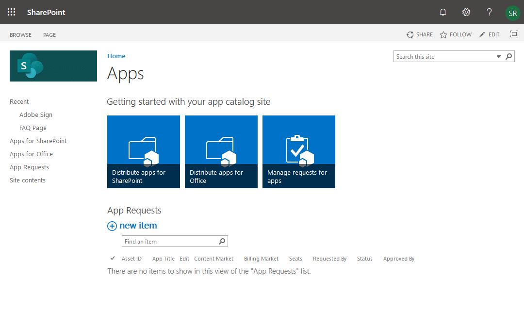 sharepoint online app catalog location