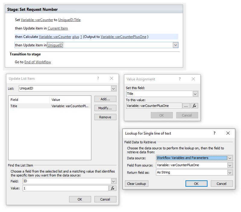 sharepoint online workflow generate unique number
