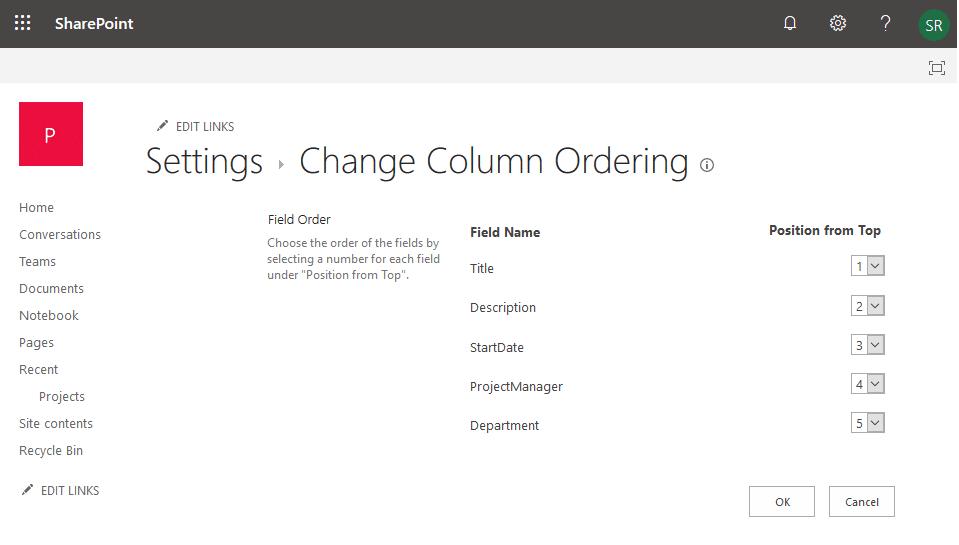 change column order sharepoint online