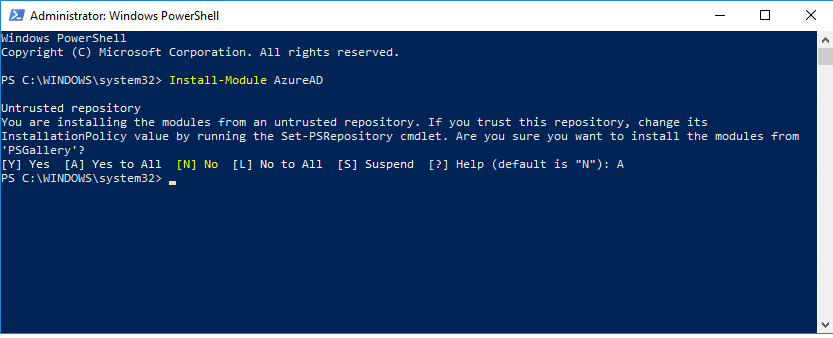 install azure ad module in powershell