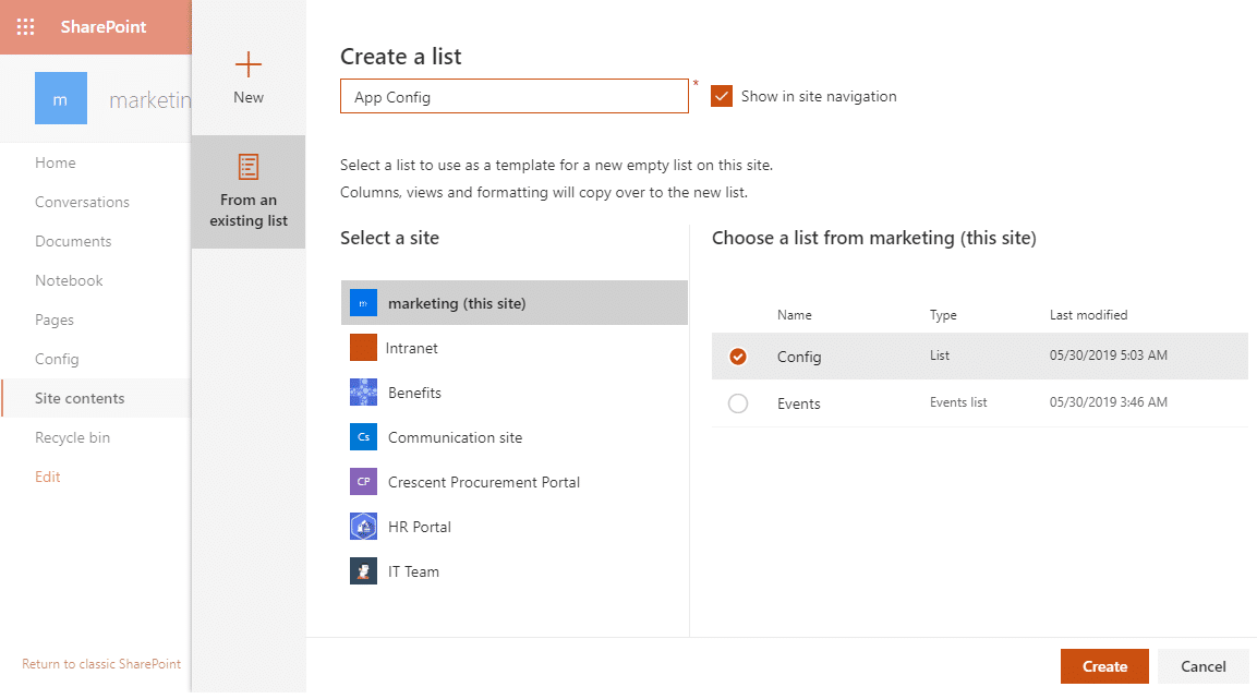 sharepoint online create list from existing list