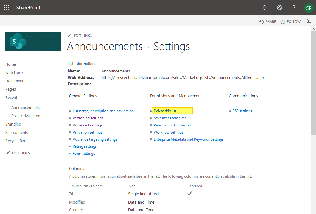 sharepoint online disable delete this list