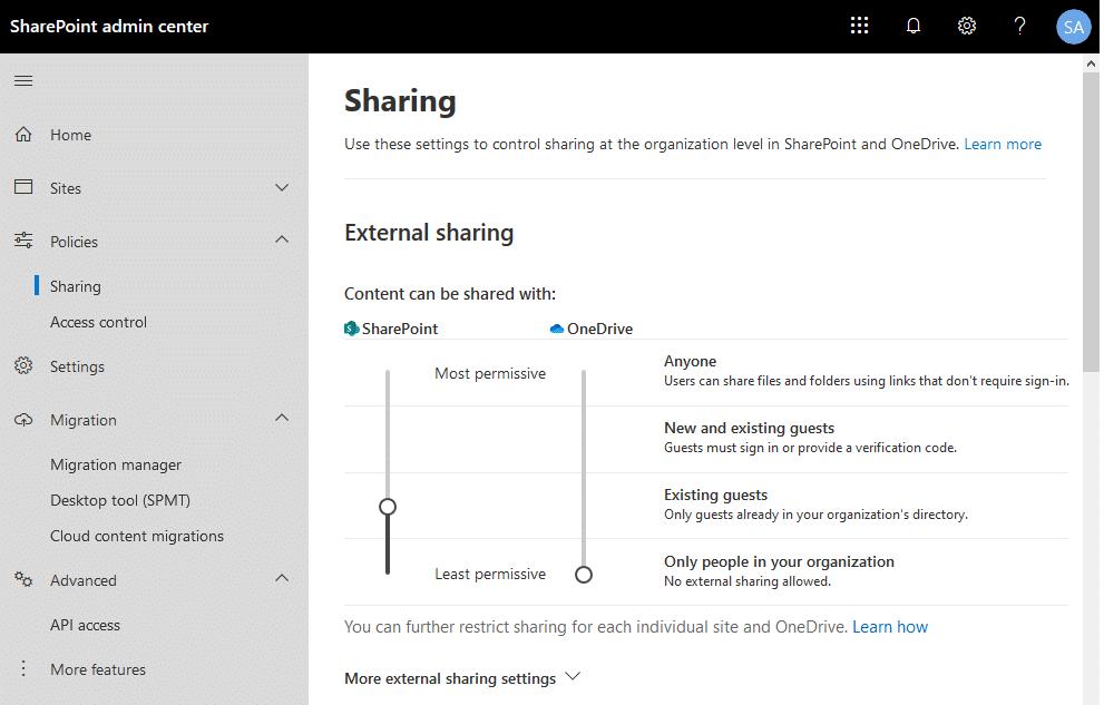 sharepoint online external sharing settings