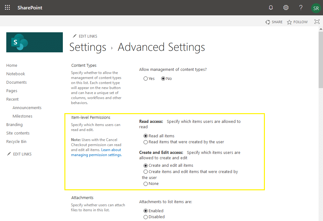 sharepoint online item level permissions