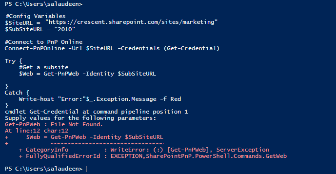 SharePoint Online: Error Handling with Try Catch in PowerShell