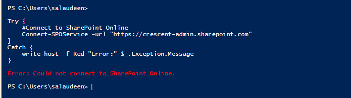 Try Catch PowerShell SharePoint Online