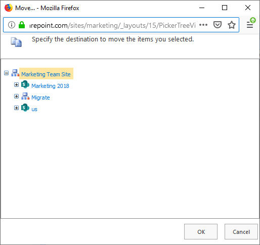 sharepoint online move subsite to another subsite