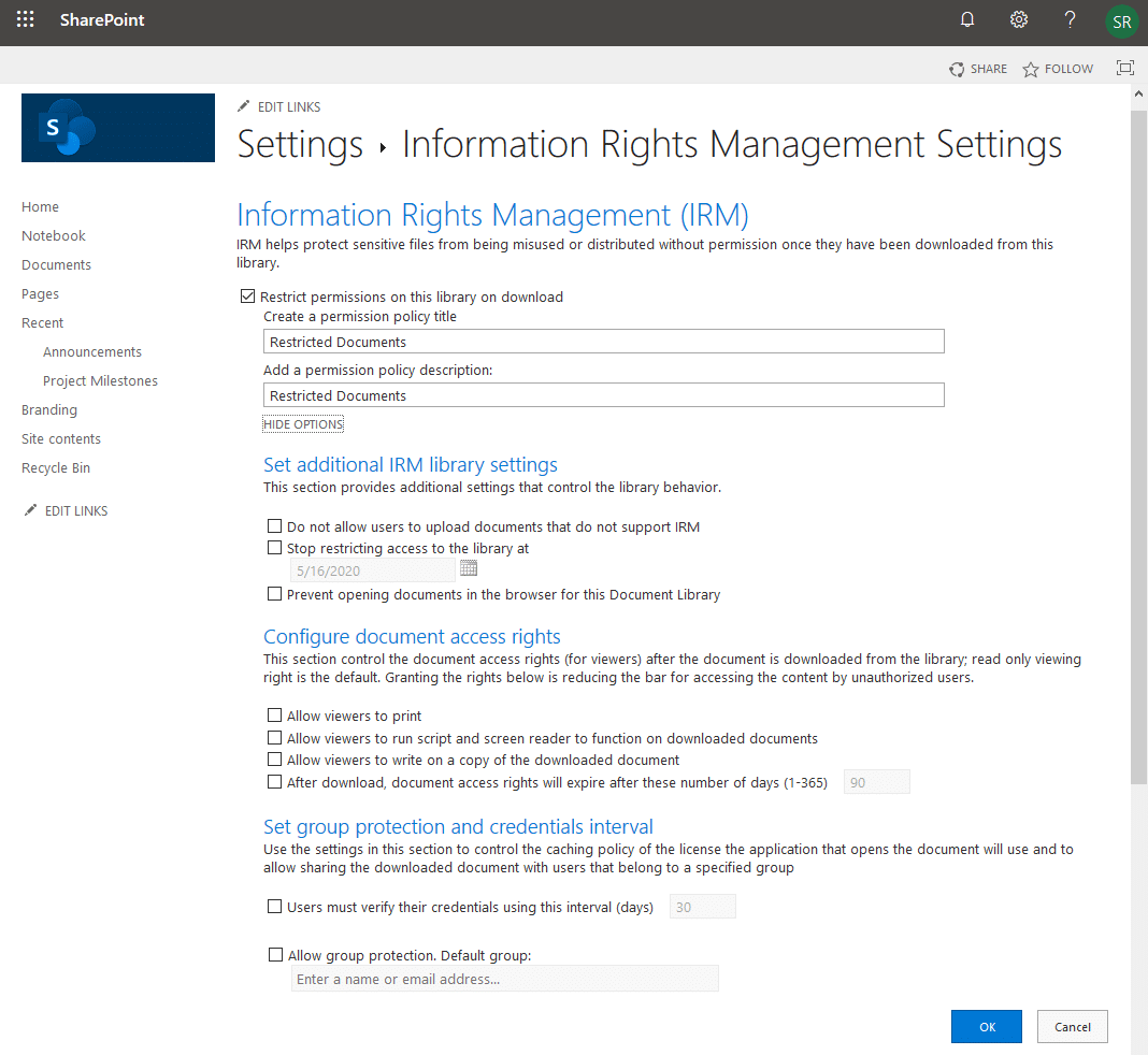 apply irm sharepoint online