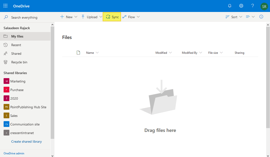 disable sync button in onedrive for business