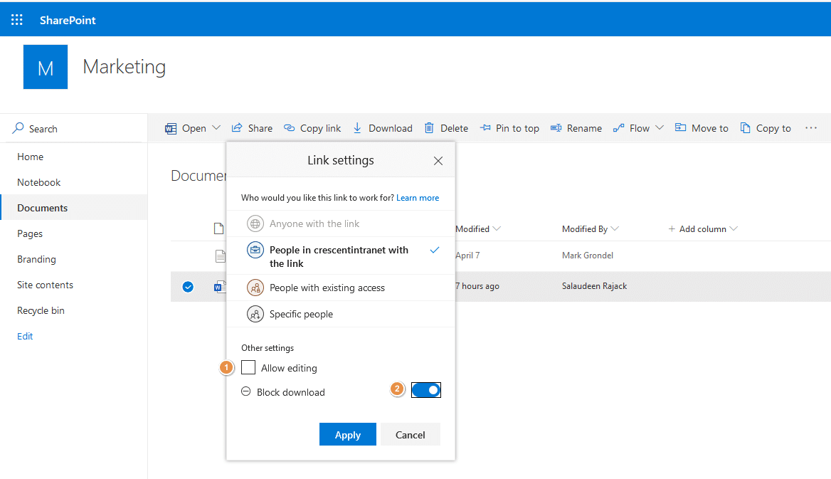 sharepoint online disable file download