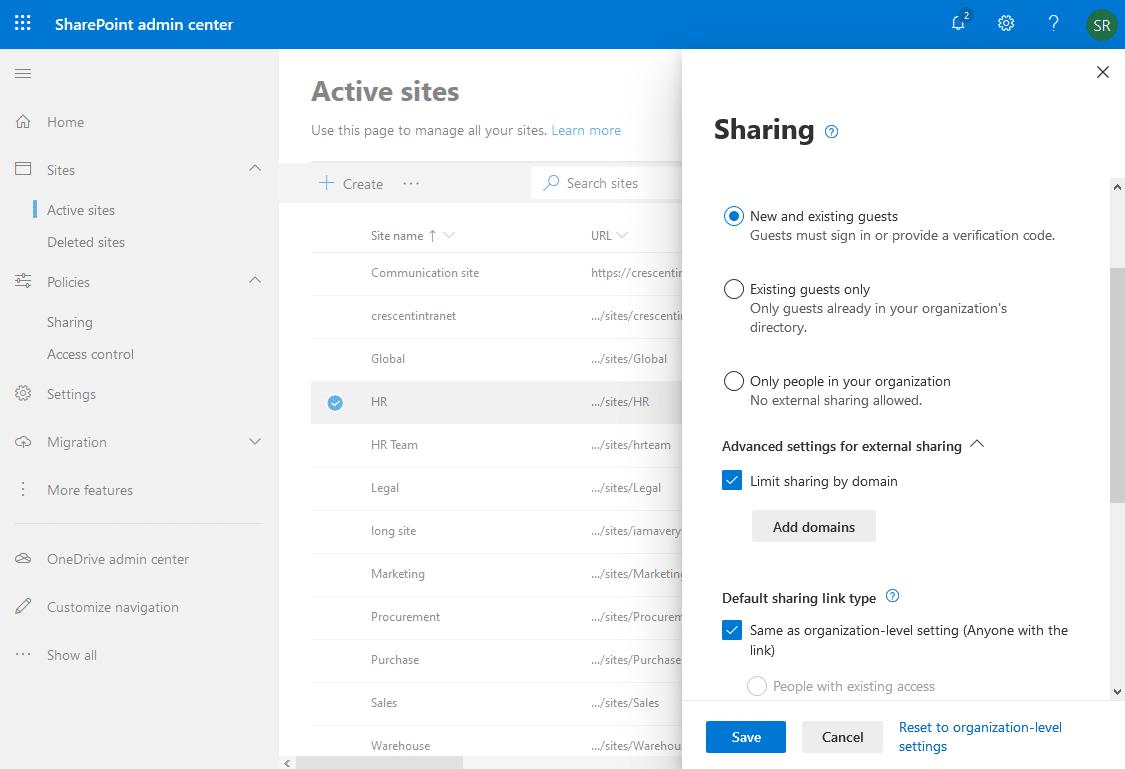 sharepoint online external sharing whitelist