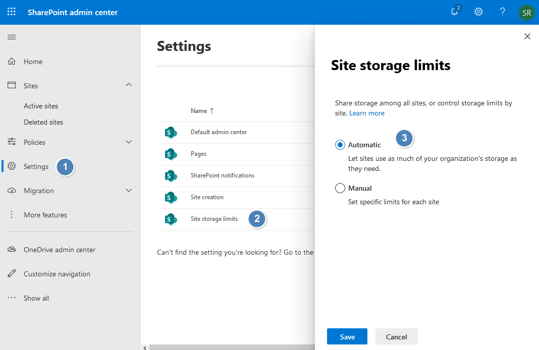 sharepoint online site storage management