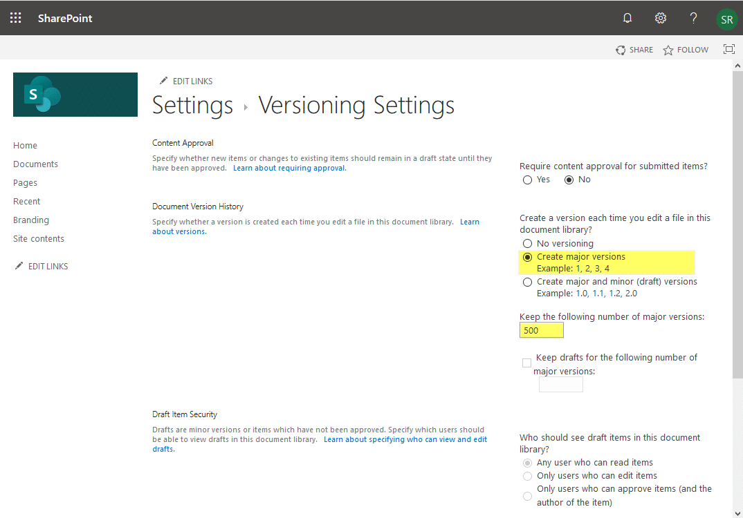 sharepoint online version history limit