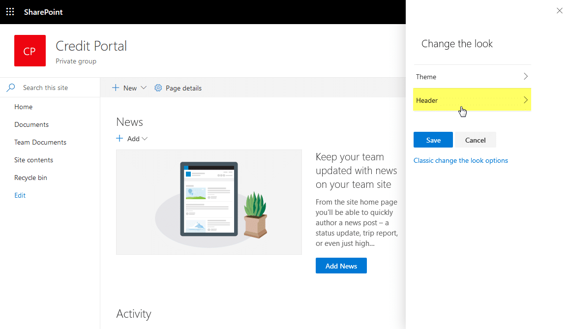 sharepoint online compact header layout