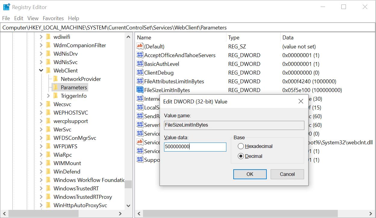 SharePoint Online Webclient file size limit registry Fix