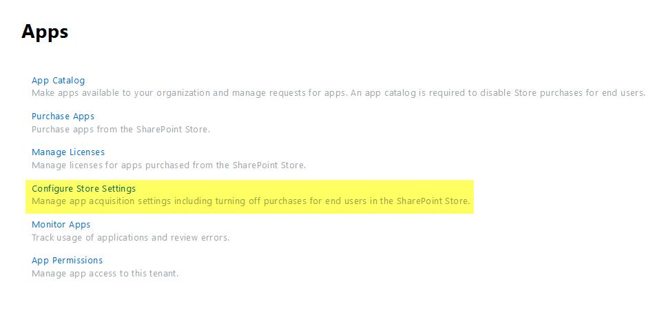 configure app store settings
