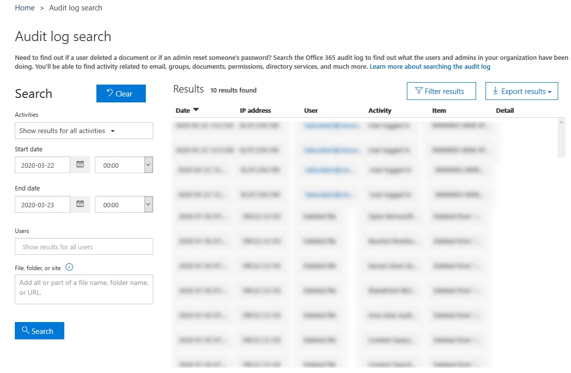 sharepoint online audit reports