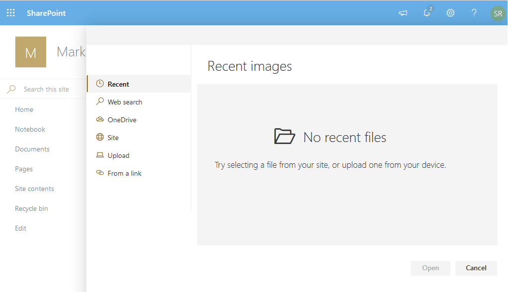 sharepoint online organisation assets library