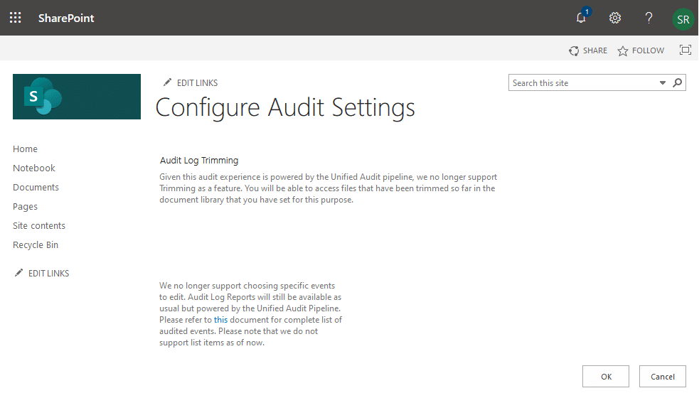 sharepoint online site collection audit settings