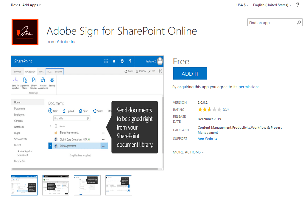 add app to sharepoint online from market place