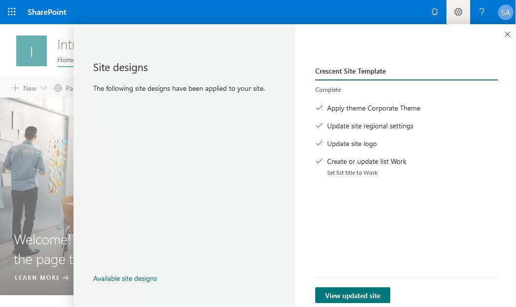 add site design sharepoint online