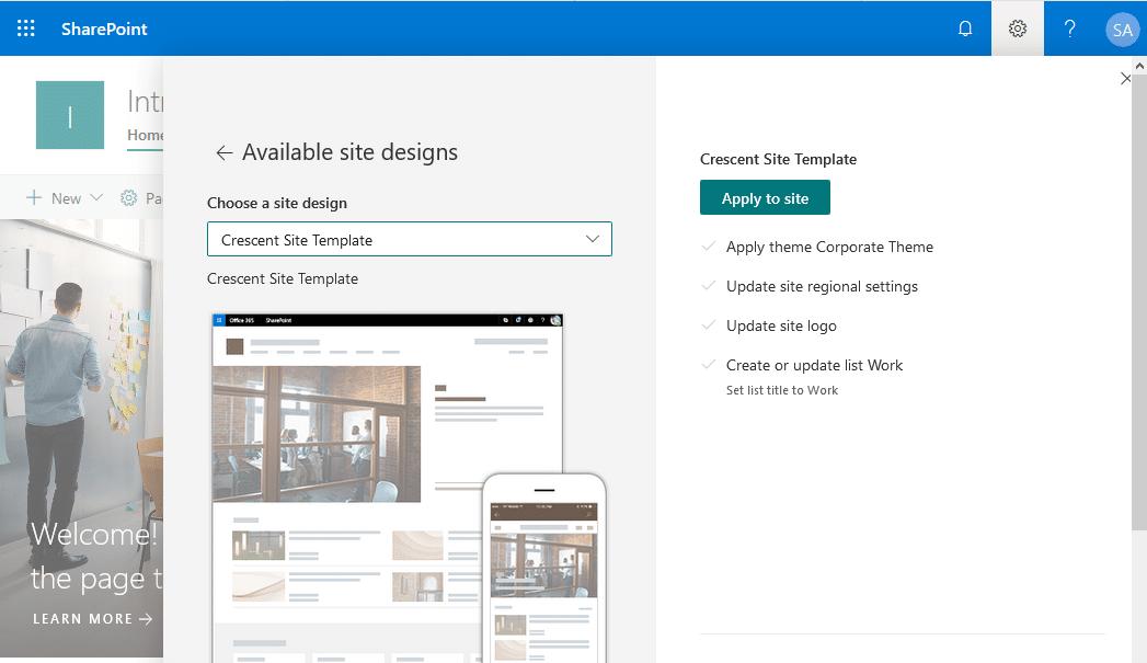 sharepoint online apply site design