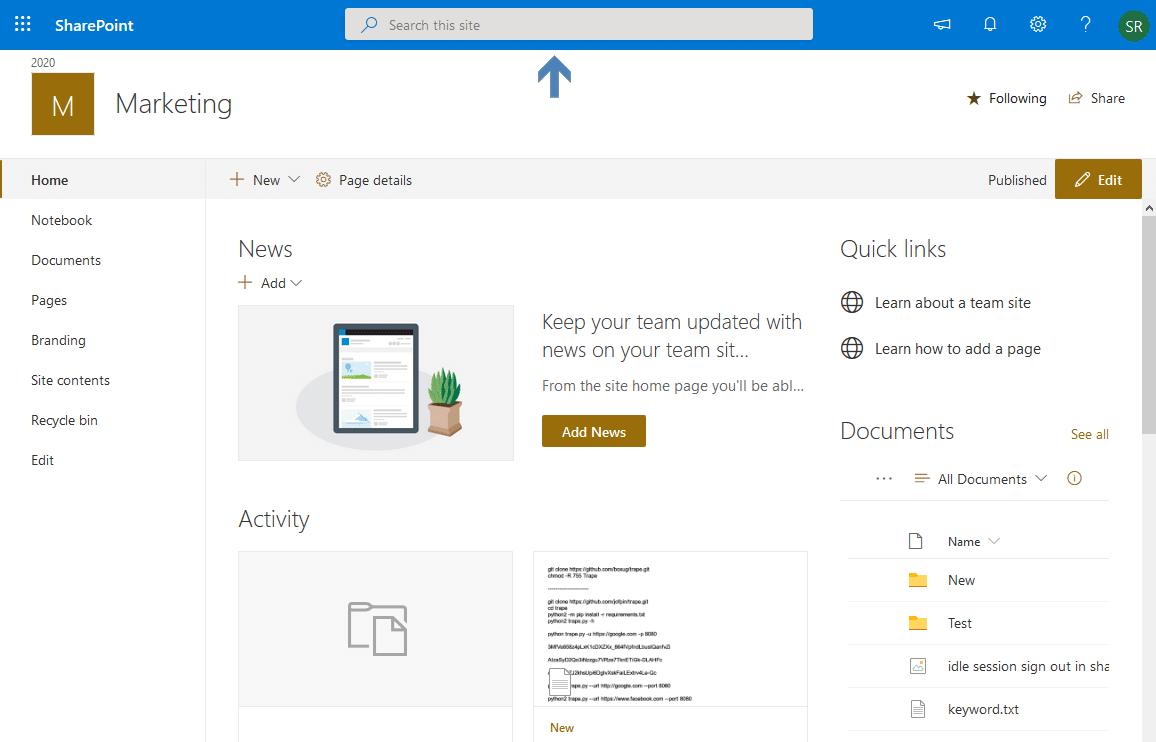 sharepoint online searchbox site navigation