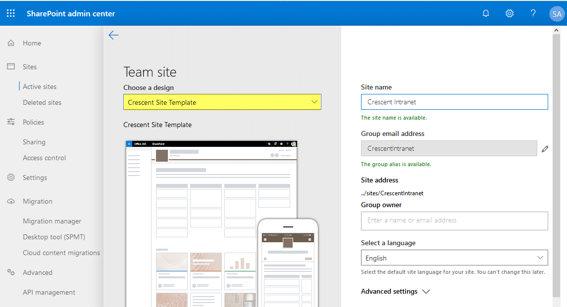 sharepoint online site design and site scripts